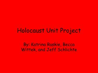 Holocaust Unit Project