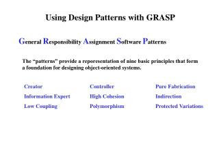 Using Design Patterns with GRASP