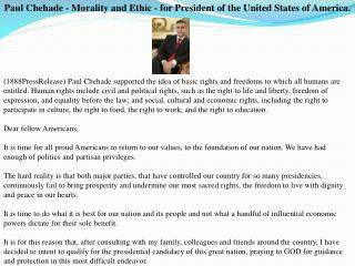 Paul Chehade - Morality and Ethic - for President of the Uni