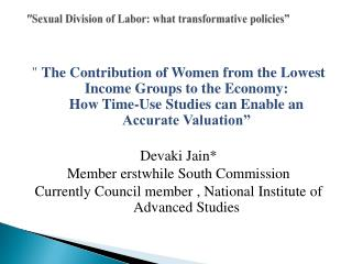 Sexual Division of Labor: what transformative policies