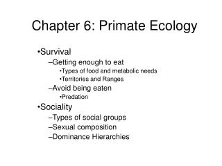Chapter 6: Primate Ecology