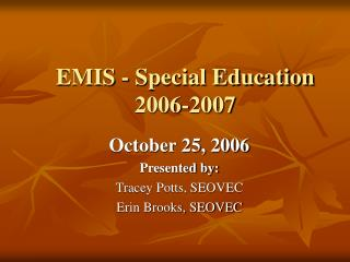 EMIS - Special Education 2006-2007