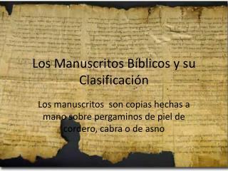 Los Manuscritos B blicos y su Clasificaci n