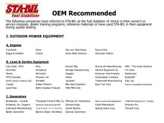 OEM Recommended