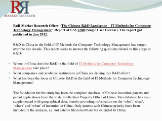 Chinese RandD Landscape Computer Technology IT Methods