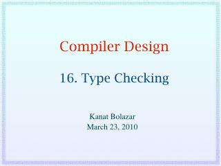 Compiler Design  16. Type Checking