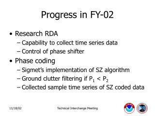 Progress in FY-02