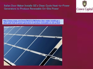 Italian Door Maker Installs GE's Clean Cycle Heat-to-Power G