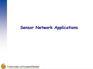 Sensor Network Applications