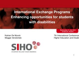 International Exchange Programs Enhancing opportunities for students with disabilities