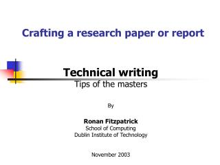 Crafting a research paper or report