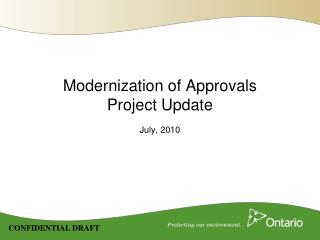 Modernization of Approvals Project Update