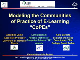 Modeling the Communities of Practice of E-Learning  CoPEs