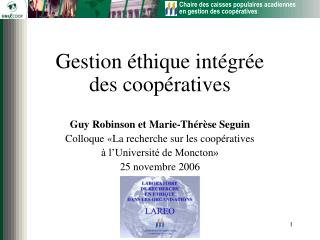 Gestion  thique int gr e  des coop ratives