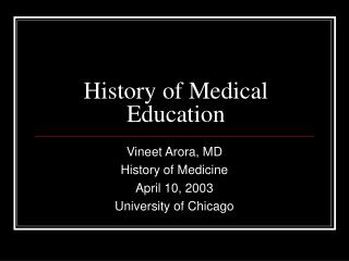 History of Medical Education