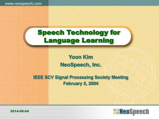 Speech Technology for Language Learning