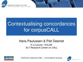 Contextualising concordances for corpusCALL