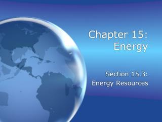 Chapter 15: Energy