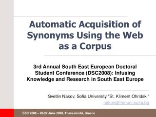 Automatic Acquisition of Synonyms Using the Web as a Corpus