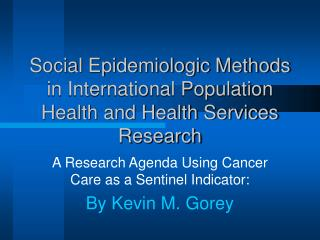 Social Epidemiologic Methods in International Population Health and Health Services Research