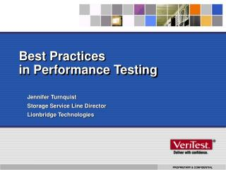 Best Practices in Performance Testing