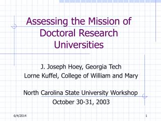 Assessing the Mission of Doctoral Research Universities