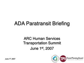 ADA Paratransit Briefing