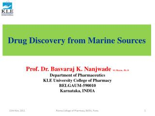 Drug Discovery from Marine Sources