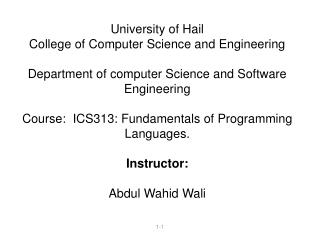 University of Hail College of Computer Science and Engineering   Department of computer Science and Software Engineering