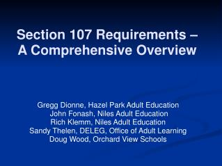 Section 107 Requirements    A Comprehensive Overview