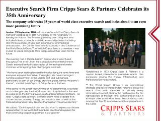 Executive Search Firm Cripps Sears  Partners Celebrates its 35th Anniversary