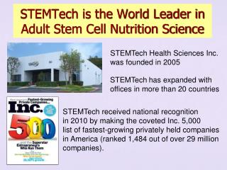 STEMTech is the World Leader in Adult Stem Cell Nutrition Science