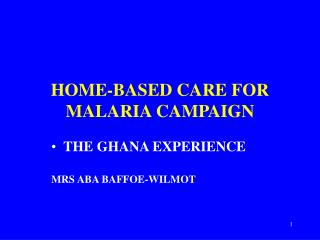HOME-BASED CARE FOR MALARIA CAMPAIGN
