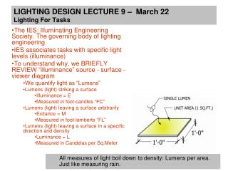 LIGHTING DESIGN LECTURE 9    March 22 Lighting For Tasks