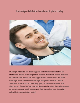 Invisalign Adelaide treatment plan today
