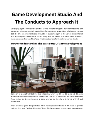 Game Development Studio And The Conducts to Approach It