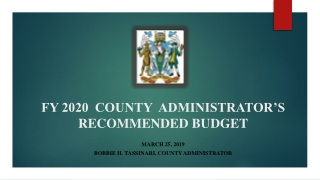 FY 2020 COUNTY ADMINISTRATOR'S RECOMMENDED BUDGET
