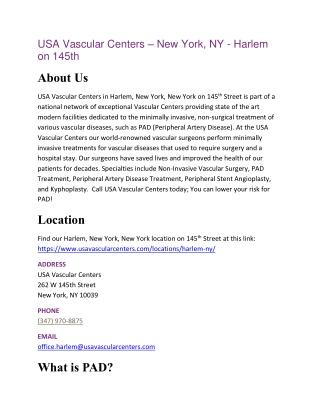 USA Vascular Centers – New York, NY - Harlem on 145th