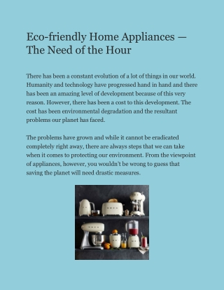 Eco-friendly Home Appliances — The Need of the Hour