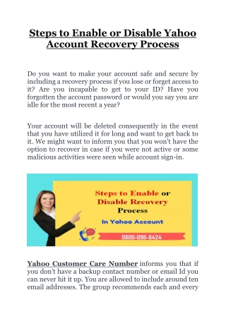 Steps to Enable or Disable Yahoo Account Recovery Process