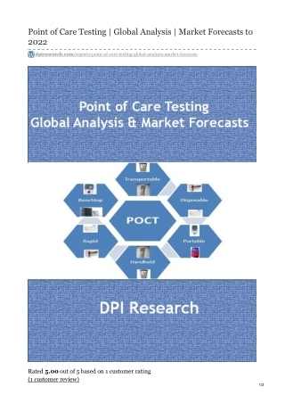 Point of Care Testing Market | Focus on Application | Forecast