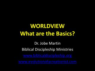 WORLDVIEW What are the Basics?