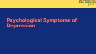 Psychological Symptoms of Depression