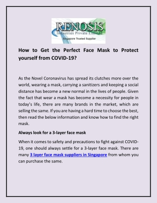 How to Get the Perfect Face Mask to Protect yourself from COVID-19?