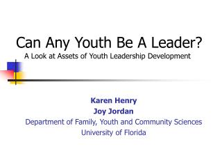 Can Any Youth Be A Leader?
