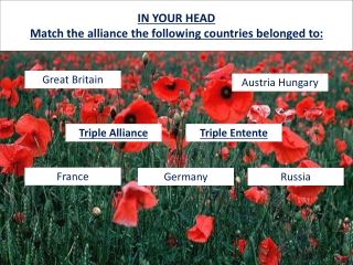 IN YOUR HEAD Match the alliance the following countries belonged to: