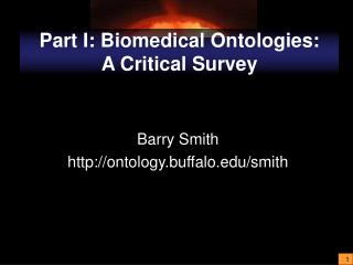 Part I: Biomedical Ontologies:  A Critical Survey