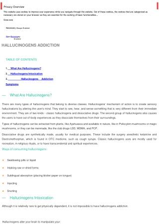 Hallucinogens addiction | Addiction