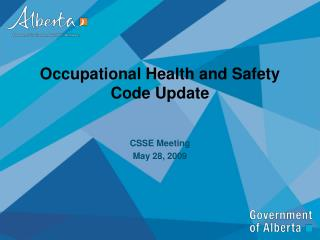 Occupational Health and Safety Code Update