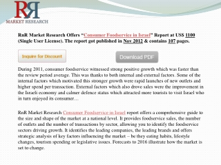 Israel Consumer Foodservice Market Forecast to 2016